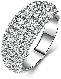 Aooaz Gioielli anello fascia anello fidanzamento anello argento sterling Arco Argento anelli donna anello zirconi