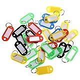 Happyit Etiquetas de Identificación de Equipaje de Llaveros de Plástico de Colores Etiquetas Llaveros con Tarjetas de Identificación (30 Piezas)