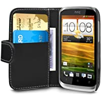 Gadget Giant HTC Desire X Schwarz PU-Leder Flip Case Schutzhülle Mit 2Kartenfächern & LCD Displayschutzfolie