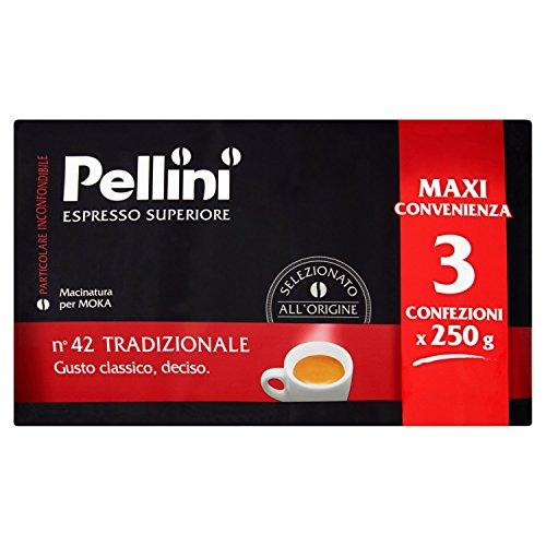 Pellini Caffe per Moka - Gusto Tradizionale - Confezione da 3x250 gr (750gr)