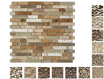 1 Netz Marmor Glas Mosaik Cream Line15 Ambiente von Mosaikdiscount24 - TapetenShop