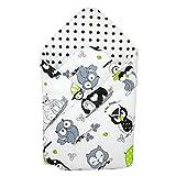 TupTam Baby Einschlagdecke Warm Wattiert Baumwolle, Farbe: Eulen Weiß/Grün, Größe: ca. 75 x 75 cm