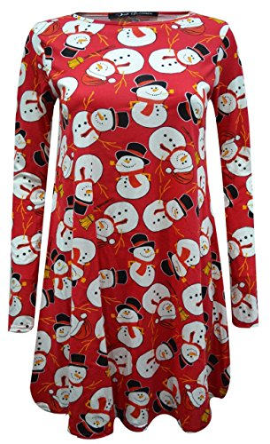 Mode 4 Moins Neuf Femme Grande Taille Manche Longue Noël Swing Robe. ROYAUME-UNI 8-26 Rouge