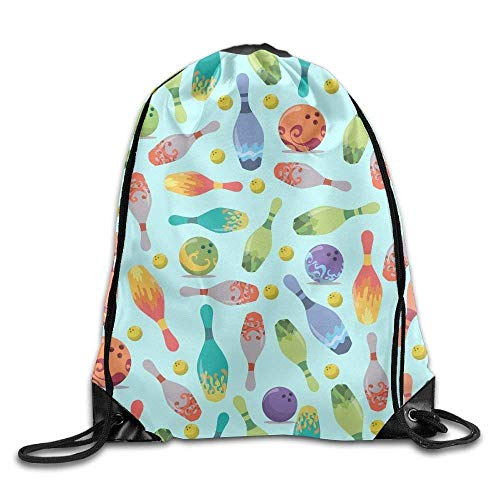 uykjuykj Tunnelzug Rucksäcke, Drawstring Gym Sport Bag Bowling Sport Fashionable Travel Bag for Unisex Canvas Bag Drawstring Lightweight Unique 17x14 IN