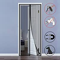 Fly Screen Door, Magnetic Door Screen Seal Automatically Fly Screen Mesh Curtain with Full Frame Velcro Keeps Bugs Mosquitoes Out Lets Cool Breeze In No Drilling 90 x 210cm