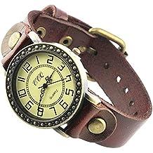 Montre Bracelet Chiffres Arabes Rond Cuir Bijou Unisex Classique Rouge Elvire