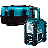 "Makita DMR108 18V Bluetooth Jobsite Radio 240v Body With 20"" Blue Tool Bag"