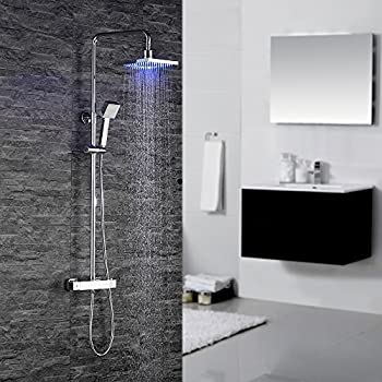 homelody duschsystem mit thermostat duscharmatur led rainshower duschset duschgarnitur duschkopf. Black Bedroom Furniture Sets. Home Design Ideas