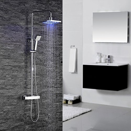 Homelody - Duscharmatur mit Thermostatfunktion und LED-Regendusche, Chrom