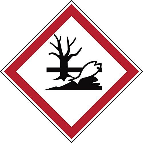 """Brady 811707 di sostanze pericolose, in poliestere laminato GHS con scritta """"Pericoloso per l"""" ambiente acquatico, 70 mm x 70 mm, in cartoncino, 6 pezzi, colore: rosso/bianco su nero"""