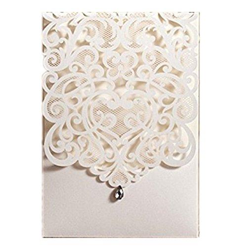 Eleganter weiß-Laser-Cut Hochzeit Einladungskarten, mit Diamant Dekoration, gratis Passende Umschlag, gratis Passende blanko Einsatz Karte und gratis Seal (20Stück)