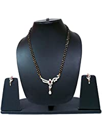Navya Collection Studded Stone American Diamond Latest Design Silver Golden Mangalsutra Set With Earrings For...