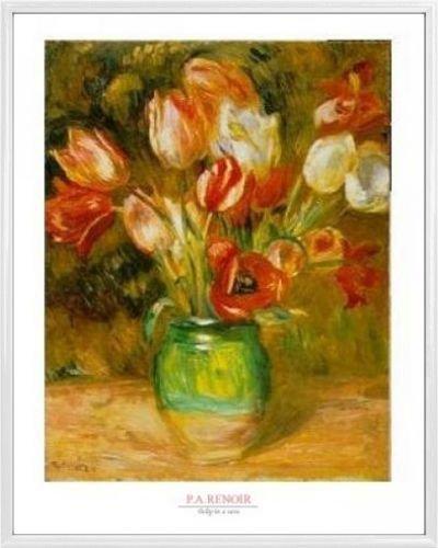 1art1 Pierre Auguste Renoir Poster Kunstdruck und Kunststoff-Rahmen - Tulpen In Einer Vase (50 x 40cm)