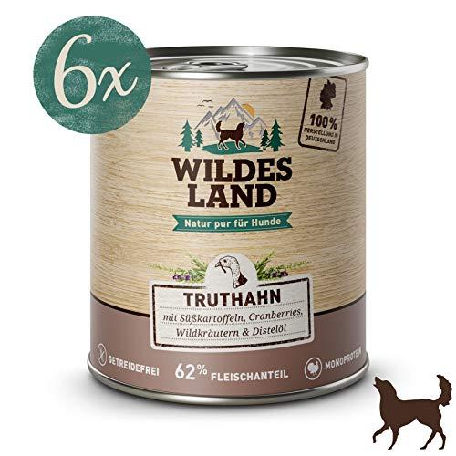 Wildes Land   Nassfutter für Hunde   Truthahn   6 x 800 g   mit Süßkartoffel, Cranberries, Wildkräutern und Distelöl   Glutenfrei   Extra viel Fleisch   Beste Akzeptanz und Verträglichkeit