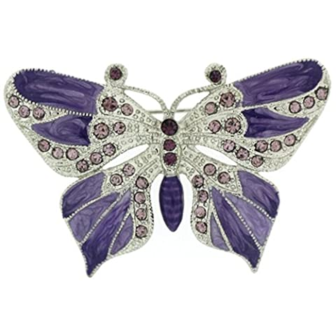 Brooches Store Amethyst Swarovski Crystal and Enamel Butterfly Brooch