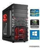 Gaming PC VG4 rot Intel, i5-7500 4x3.4 GHz, 8GB DDR4, 1TB HDD, GTX1050Ti 4GB, Windows 10, Spiele Computer zusammengestellt in Deutschland Desktop Rechner