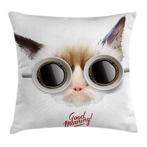 Trsdshorts Funny Throw Pillow Cushion Cover, Funny Cat with Cups of Coffee Glasses on Her Eyes Office Reminder Pet Good Morning, Decorative Square Accent Pillow Case, 18 X 18 inches, Cream Brown