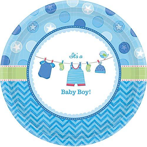 Kostüm Verwandte Trinken - amscan 591491 8 Papierteller Shower with Love Boy, Mehrfarbig, Large Round Plate (8 Pack)