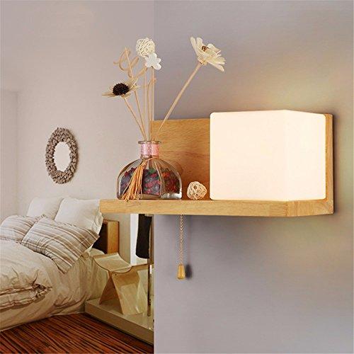 Einfache moderne Schlafzimmer Bett holz Einzel Kopf Wandleuchte kreative Individualität LED Glas Lampenschirm Wandleuchte, rechts (Einzel-metall-loft-betten)