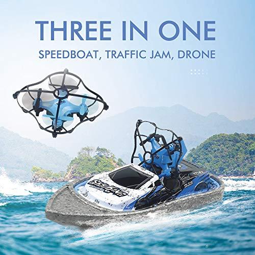 Homealexa Ferngesteuerte Boote Auto mit Mini-Fernbedienung Drohne, 3-in-1 RC vierachsige Flugzeuge, unterstützt ferngesteuertes Auto und Remote Hovercraft Modus, RC Quadcopter Spielzeug für Kinder