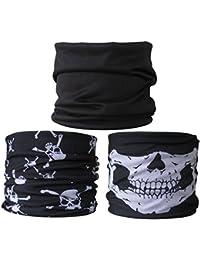 (3 PACK) Multifunctional Headwear...Plain Black / Skulls / Skull Jaw