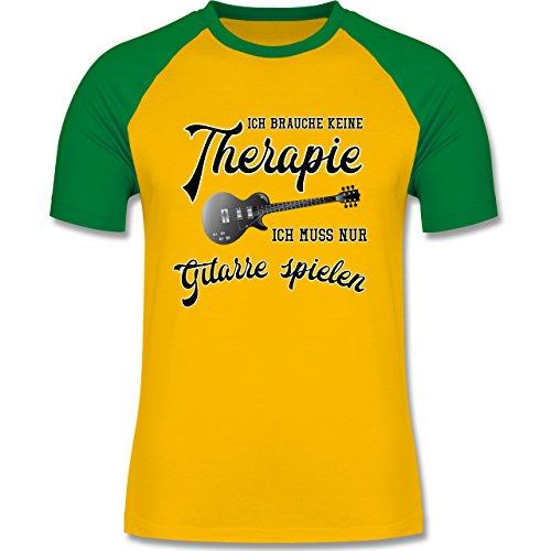 Shirtracer Instrumente - Ich Brauche Keine Therapie Ich muss Nur Gitarre Spielen - Herren Baseball Shirt Gelb/Grün