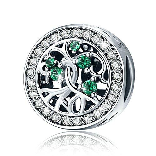 Charm für Frauen, 925Sterling Silber Tree Bead Charme mit Grün CZ Pandora Charme Armband bj09006