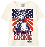 Logoshirt Jungen T-Shirt Sesame St Monster-Me Want Cookie, Weiß-Blanc (Almost White), 92