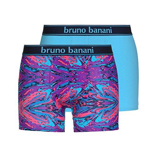 bruno banani Herren Shorts, 2er Pack türkis (Violett/Pink/Türkis PRINT// Türkis 2297)