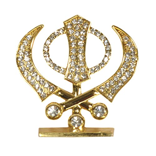 Purpledip Sikh Religious Symbol 'Khanda' Showpiece Statue for Car Dashboard, Home Temple, Office Table or Car Dashboard (10291)