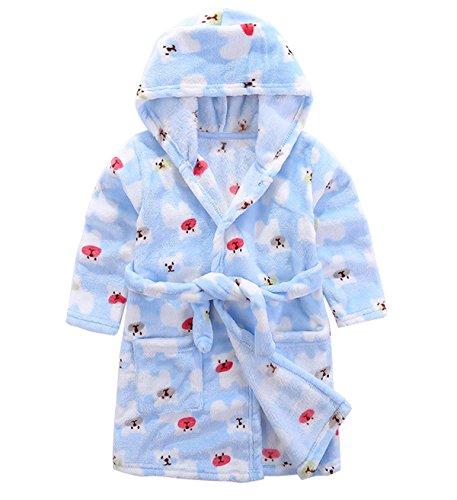 Kinder Mädchen Jungen Bademantel Schlafanzüge Badetuch mit Kapuze Flanell Fleece Kinderbademantel
