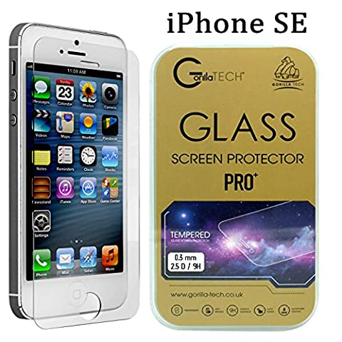Apple iPhone SE Gorilla Tech ® Premium Tempered Glass Screen Protector Invisible Shield HD Cover 9H Hardness Crystal Clear HD Quality Shatter & Scratch Resistant