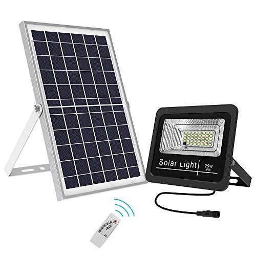 DOOK 25W Solar-Flutlicht mit Fernbedienung 39 LED Solarleuchte IP67 Wasserdicht Solar-Sicherheitsleuchte Dämmerung bis Morgendämmerung Außenbeleuchtung Solarpanel Licht für Hof, Garten, Terrasse -