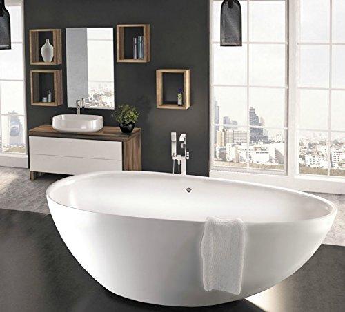 freistehende Badewanne aus Mineralguss 170x85x58 cm weiss Design TRE XL