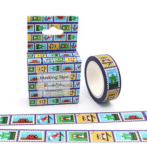 JKOU Tape 15Mm * 10 Mt Box Paket Cartoon Stempel Washi Tape Ausgezeichnete Bunte Papier Masking Tape DIY Dekorative Bänder