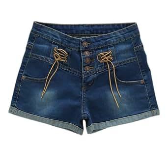 New Fashion taille haute pour femme resserré aux chevilles Short en jean-Deep Blue boutons de Pantalon chaud Asie-Taille 27