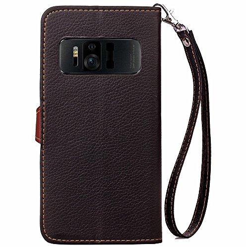 EKINHUI Case Cover Mix und Match Color Leaf Magnetic Buckle PU Ledertasche Brieftasche Stand Pouch Cover mit Lanyard für Asus Zenfone AR ZS571KL ( Color : Red ) Black