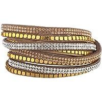 Lux accessori marrone perline tono oro champagne doppia fila bracciale a fascia, in pelle scamosciata - Tono Oro Charm Bracelet Bracciale