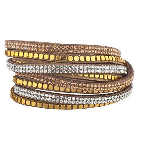 Lux accessori marrone perline tono oro champagne doppia fila bracciale a fascia, in pelle scamosciata