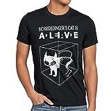 style3 Gato de Schrödinger Camiseta para Hombre T-Shirt Sheldon, Talla:XL;Color:Nero