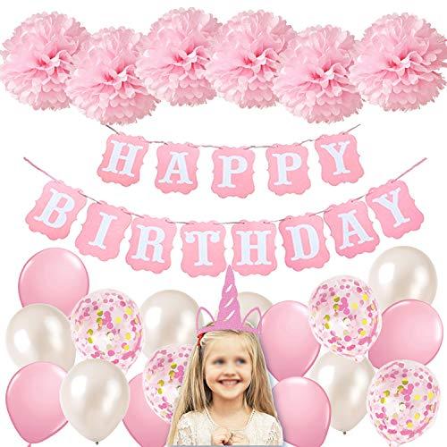 Ohighing Geburtstagsdeko Mädchen Rosa Happy Birthday Girlande Ballons Banner Pompoms Rosa und Rosa Luftballons Geburtstag deko Set für Mädchen Freundin Tochter