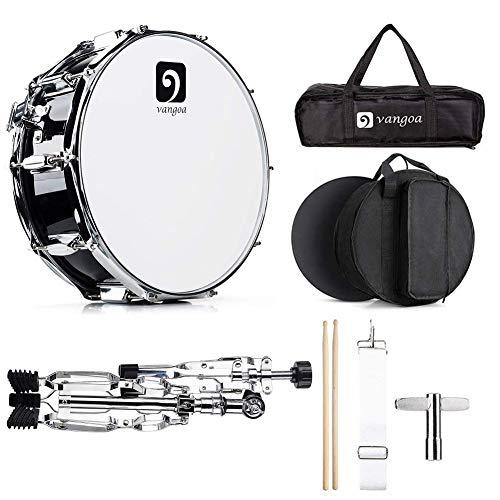 Vangoa Snare Drum Set, 14 Zoll Professionelle Snare Drum mit Drum Ständer, 10 Tuning Lugs, Ahornholz-Hohlraum