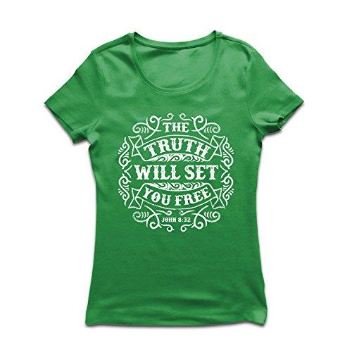 (lepni.me Frauen T-Shirt Die Wahrheit wird dich befreien - Aktion ist der Beweis des Glaubens - christliche Geschenkideen - Ostern - Auferstehung - religiöse Kleidung (Small Grün Mehrfarben))