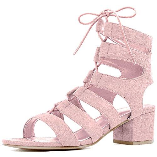 Allegra K Femme Bout Ouvert Découpe Talon Épais à lacet Sandales pink