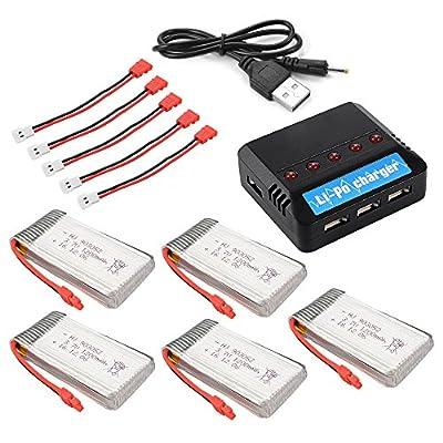 XCSOURCE 5pcs 3.7V 1200mAh Lipo Battery + 5in1 5Ports USB 25C Charger + 5pcs Convert Cable for Syma X5HC X5HW RC Quadcopter BC672