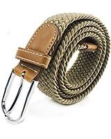 Feraco Geflochtene Elastischen Stretchgürtel PU Leder kippte Ende und Silber Metallschnalle Webbing Belt