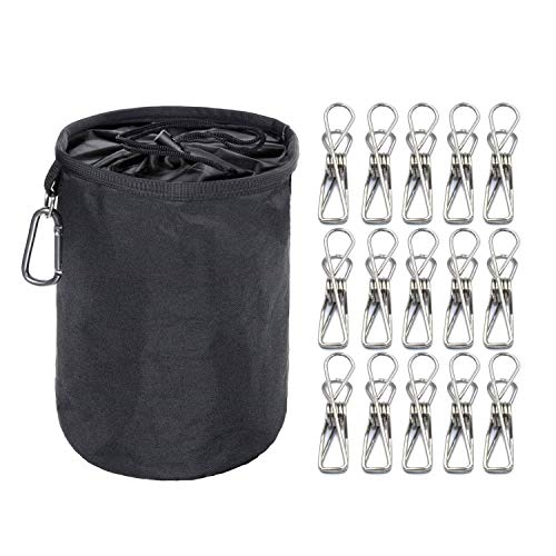 7d9b98b74f8e Skroad Peg Bag with Clothes Pegs, 100 Pack Powerful Stainless Steel Clips  in Weather Resistant Laundry Peg Bag with Hanging Hook for Wash Line