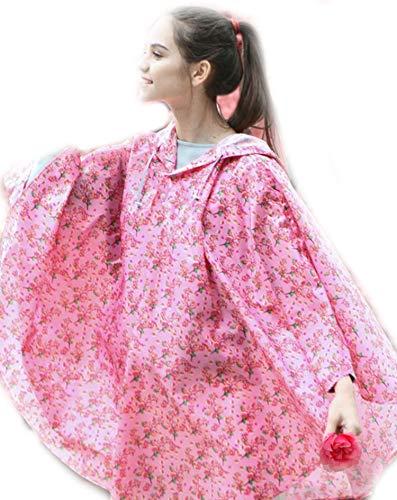 wall-8-CC Modischer Damen-Trenchcoat mit Kapuze und Regenponcho, wasserdicht, Flamingo-Design, Mehrfarbig Gr. 150/175 cm, Rose Red Flower (Manschette Mondstein Armband)