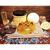Craftiela Tangy Boost Natural Organic Gift Set For Her Lemon and Aloe Vera Bath Bomb, Raw Honey and Black Pepper Soap, Lemon Dead Sea Bath Crystals Healthy Spa Gift Set Woman