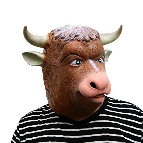 Morbuy Máscara de Cabeza Animal de Látex, Adulto Látex Novedad Interesante Cabeza Máscaras Halloween Cara Fiesta de Disfraces Cosplay (Cuerno de Ganado Blanco)